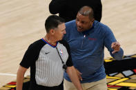 Philadelphia 76ers head coach Doc Rivers, right, argues with an official during the first half of Game 6 of an NBA basketball Eastern Conference semifinal series against the Atlanta Hawks, Friday, June 18, 2021, in Atlanta. (AP Photo/John Bazemore)