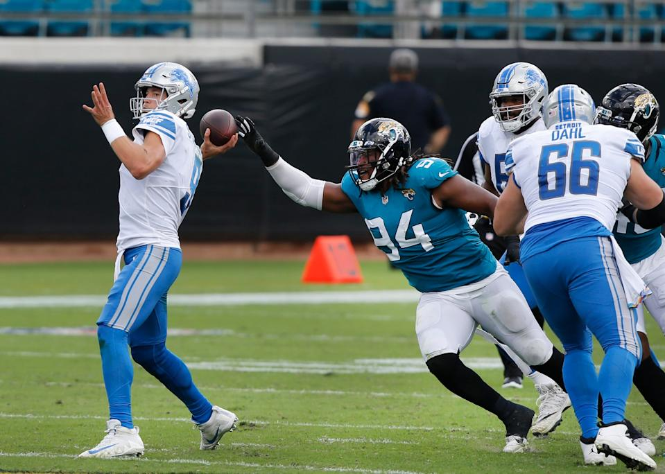 The Lions crushed the Jaguars, 34-16, on Sunday.