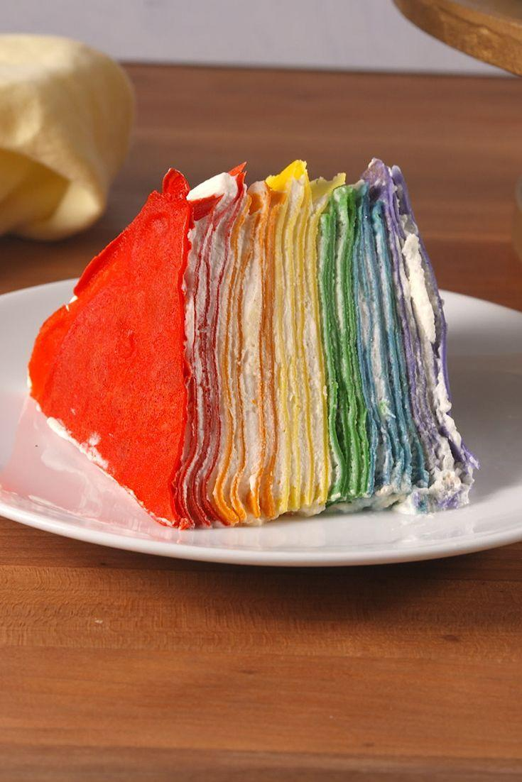 """<p>This crepe cake beats all other rainbow recipes.</p><p>Get the recipe from <a href=""""https://www.delish.com/cooking/recipe-ideas/recipes/a52346/rainbow-crepe-cake-recipe/"""" rel=""""nofollow noopener"""" target=""""_blank"""" data-ylk=""""slk:Delish"""" class=""""link rapid-noclick-resp"""">Delish</a>.</p>"""