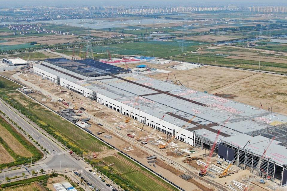 Aerial view of Tesla's Gigafactory under construction at Lingang in Shanghai on 10 May 2019. Photo: ImagineChina