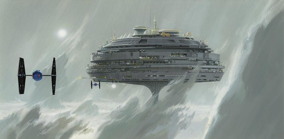"""<p>""""The most substantial example of [recycling unused art] is probably the Imperial city of Alderaan, which was present in Lucas's second draft of the screenplay,"""" says Alinger. """"It was one of the first production paintings McQuarrie completed for 'Star Wars,' but was not seen in the film. The floating city re-emerged as Cloud City in 'The Empire Strikes Back.'"""" (McQuarrie later revised this image to include """"fin-winged"""" Imperial fighters.) </p>"""