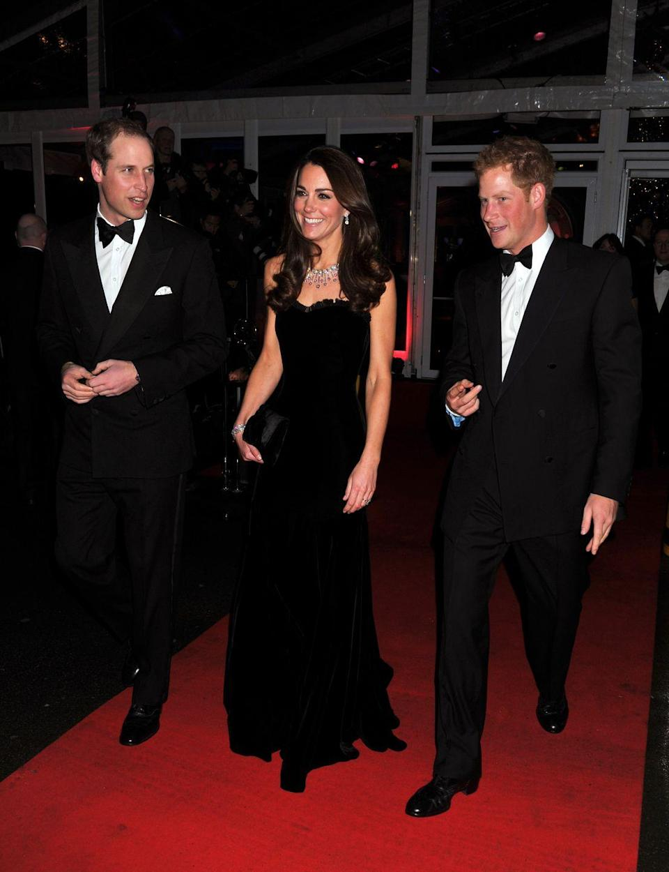 <p>Kate donned this dramatic black velvet gown to join Prince William and Prince Harry at the Sun Military Awards.</p>