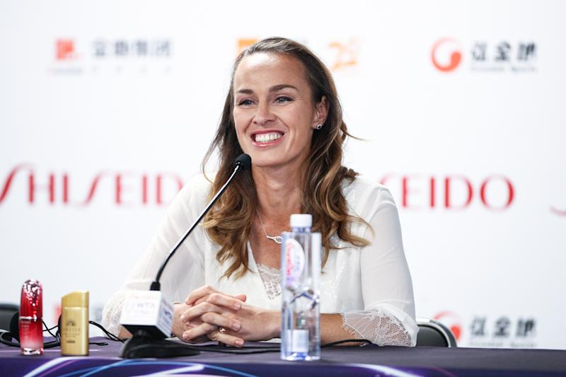 SHENZHEN, CHINA - OCTOBER 28: WTA Legend Ambassador Martina Hingis attends a press conference on Day two of the 2019 WTA Finals at Gemdale Tennis Center on October 28, 2019 in Shenzhen, Guangdong Province of China. (Photo by VCG/VCG via Getty Images)