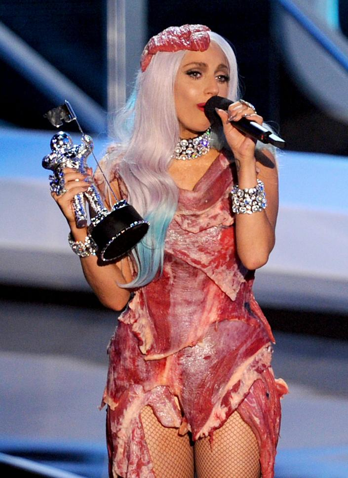 Who can forget the meat dress? Lady Gaga was feeling carnivorous with her wardrobe during the 2010 VMAs, where she picked up the Video of the Year award for 'Bad Romance.'