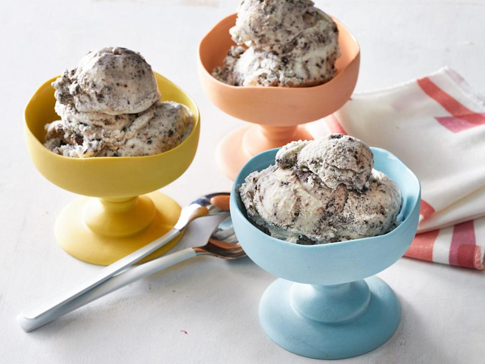 "<p><strong>Recipe: <a href=""https://www.southernliving.com/recipes/homemade-cookies-and-cream-ice-cream"" rel=""nofollow noopener"" target=""_blank"" data-ylk=""slk:Homemade Cookies-and-Cream Ice Cream"" class=""link rapid-noclick-resp"">Homemade Cookies-and-Cream Ice Cream</a></strong></p> <p>There's nothing more refreshing on a hot summer day than a heaping bowl of homemade ice cream.</p>"