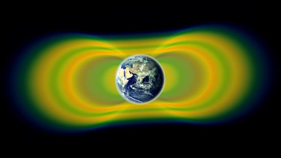 Two giant swaths of radiation, known as the Van Allen Belts, surrounding Earth were discovered in 1958. In 2012, observations from the Van Allen Probes showed that a third belt can sometimes appear. The radiation is shown here in yellow, with g
