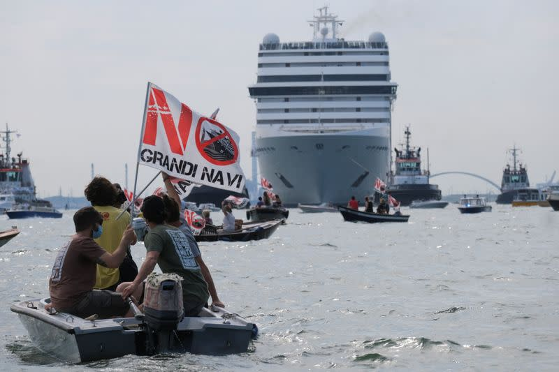 Venice residents hold a protest to demand an end to cruise ships passing through the lagoon city