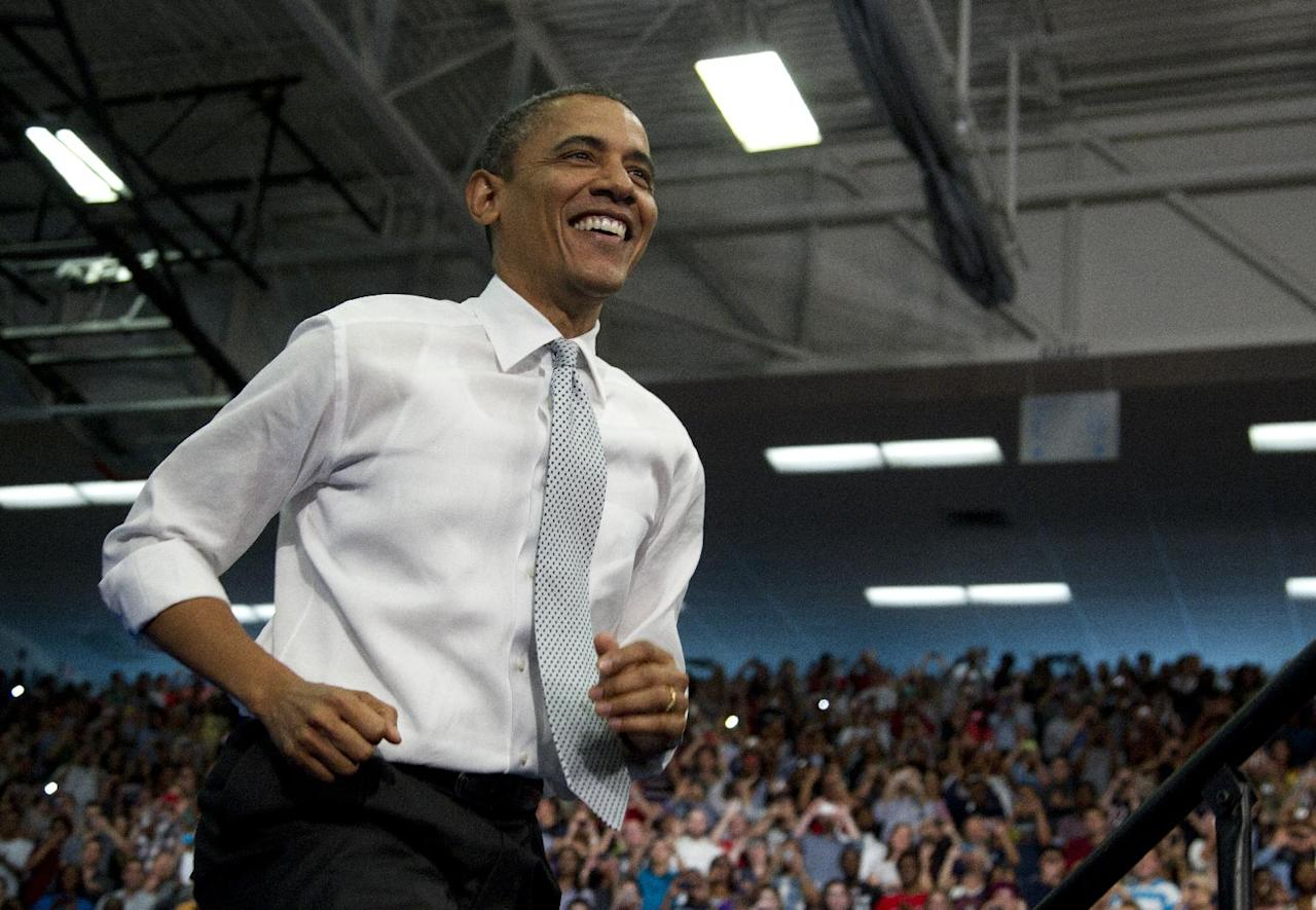 FILE - In this April 10, 2012 file photo, President Barack Obama arrives to speak at Florida Atlantic University in Boca Raton, Fla. Seven months before the election, President Barack Obama is just where he expected to be: Taking on Mitt Romney and targeting him as a wishy-washy protector of the rich. With the election likely to hinge on the economy, Obama is stepping firmly into a contentious race backed by an experienced and well-financed campaign organization. (AP Photo/Carolyn Kaster, File)