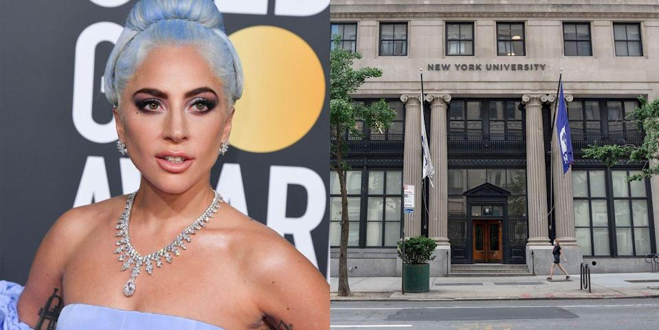 """<p><strong>New York University </strong></p><p>Before she became Lady Gaga, 17-year-old Stefani Germanotta was accepted to the <a href=""""https://www.nyc-arts.org/organizations/2656/collaborative-arts-project-21"""" rel=""""nofollow noopener"""" target=""""_blank"""" data-ylk=""""slk:Collaborative Arts Project 21"""" class=""""link rapid-noclick-resp"""">Collaborative Arts Project 21</a>, a music school at NYU's Tisch School of the Arts, and lived in an NYU dorm. She withdrew during the second semester of her sophomore year to focus on her music career.</p>"""