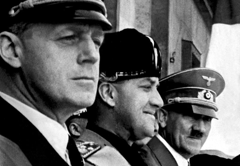 German Nazi Chancellor and dictator Adolf Hitler (3rd L), Italian Foreign Minister Galeazzo Ciano (2nd L) and German Nazi Foreign Minister Joachim von Ribbentrop (L) in 1939 (AFP Photo/)