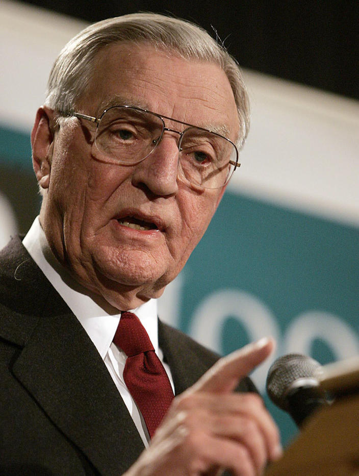 FILE - In a March 14, 2005, file photo, former Vice President Walter Mondale speaks during the Second Annual Hoover-Wallace Dinner before receiving a Hoover-Wallace Humanitarian Leadership Award in Des Moines, Iowa. Mondale, a liberal icon who lost the most lopsided presidential election after bluntly telling voters to expect a tax increase if he won, died Monday, April 19, 2021. He was 93. (AP Photo/Eric Rowley, File)