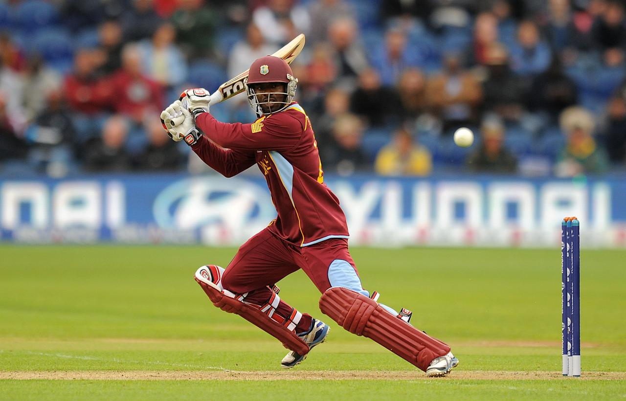 West Indies' Devon Smith bats during the ICC Champions Trophy match at The SWALEC Stadium Cardiff.