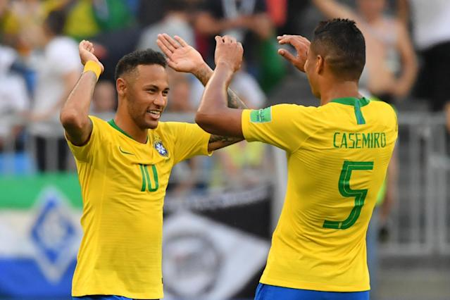 Casemiro has been excellent for Brazil at the 2018 World Cup, but he's suspended for the quarterfinals. (Getty)