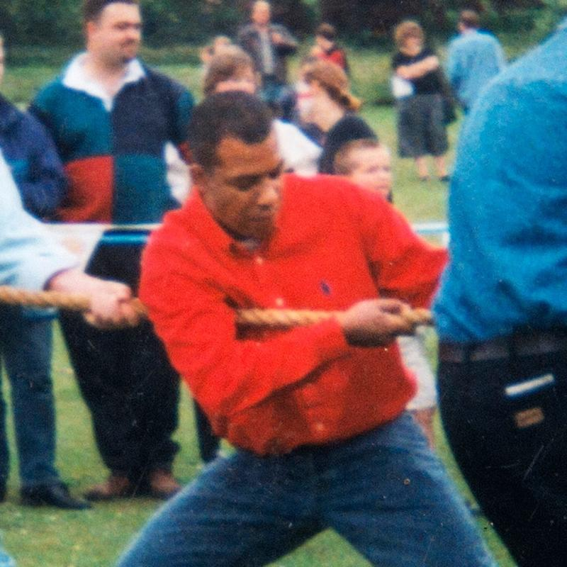 Westminster attacker Adrian Ajao (aka Khalid Masood) - red sweater - who lived in the village of Northiam takes part in a village fete tug-of-war pre-2003 - Credit: Julian Simmonds