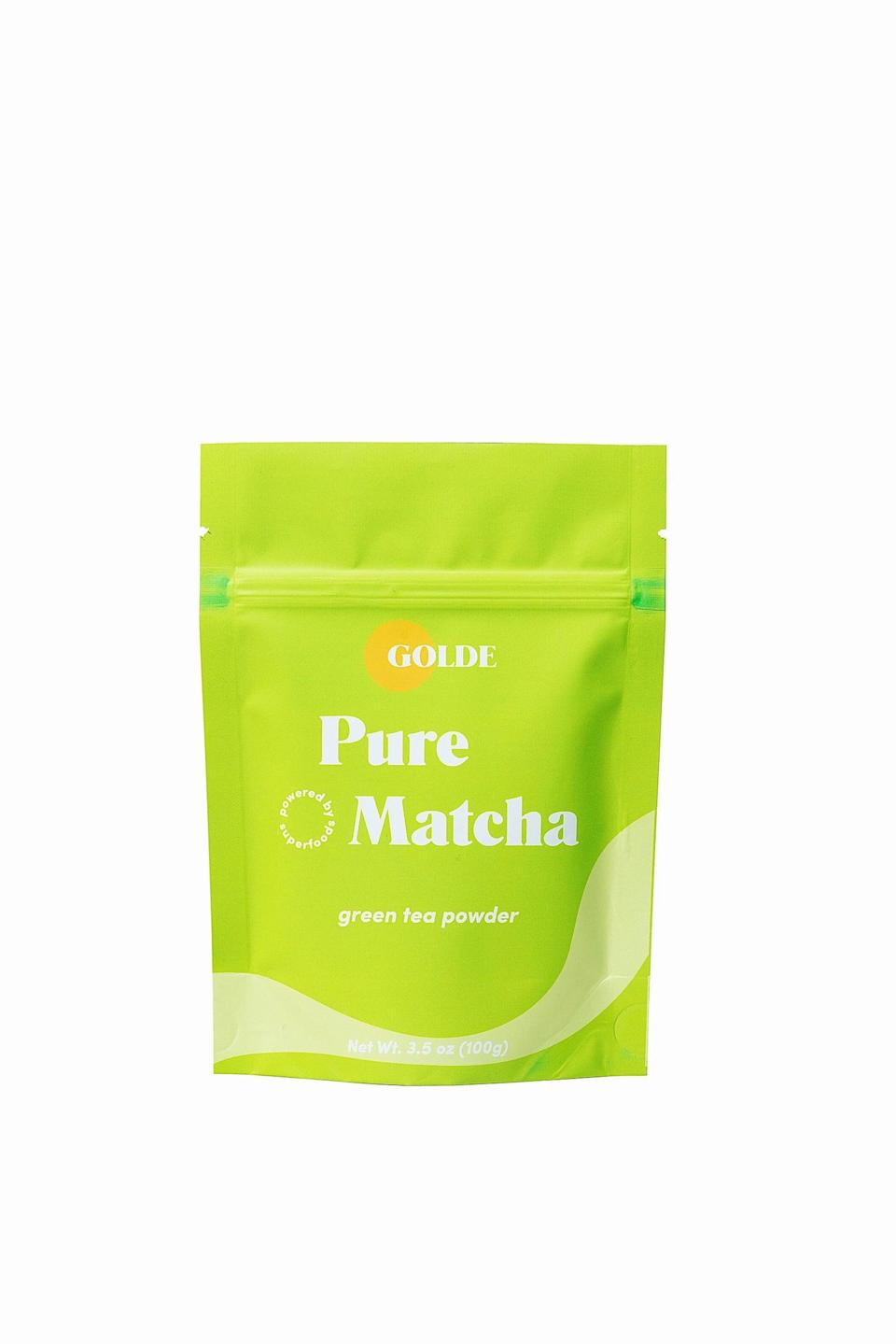 """<p>If you love caffeine but want to try something different from coffee, give matcha a go. This <span>Golde Pure Matcha 100</span> ($42) is a great gift, and it tastes delicious, no matter <a href=""""https://www.popsugar.com/fitness/How-Make-Matcha-Latte-46457717"""" class=""""link rapid-noclick-resp"""" rel=""""nofollow noopener"""" target=""""_blank"""" data-ylk=""""slk:how you like to make your matcha"""">how you like to make your matcha</a>.</p>"""