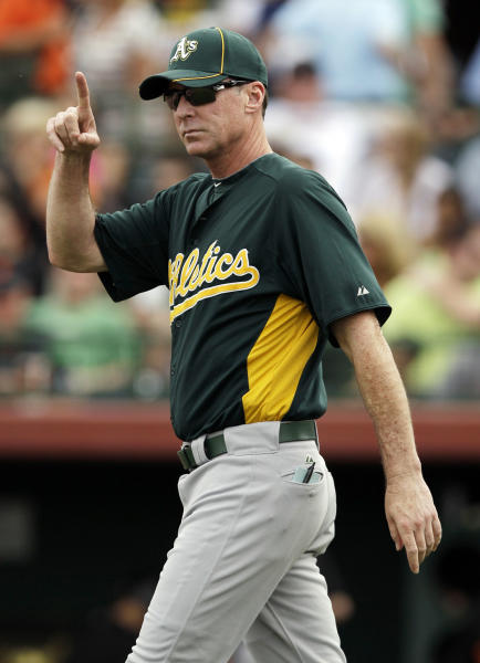 FILE - In this March 17, 2012, file photo, Oakland Athletics manager Bob Melvin gestures during a spring training baseball game in Scottsdale, Ariz. Melvin has received a two-year contract extension through the 2016 season after leading Oakland to a surprising AL West title last year. The A's announced Monday, Jan. 14, 2013, that Melvin, the reigning AL Manager of the Year, received a new deal. (AP Photo/Marcio Jose Sanchez, File)