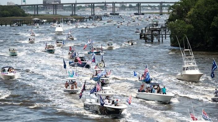 In South Carolina, dozens of boats took part in a Make America Great Again parade off Charleston