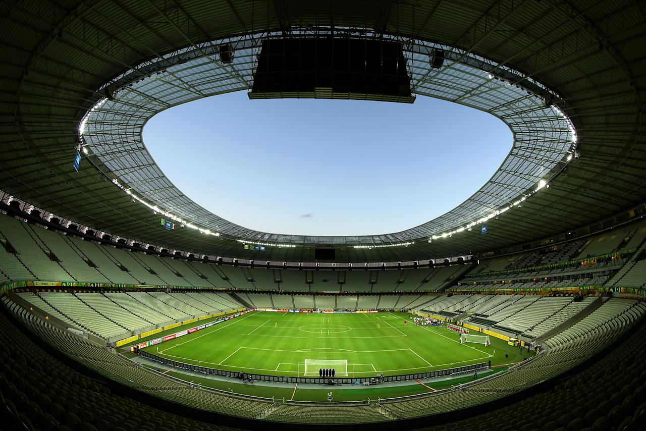 FORTALEZA, BRAZIL - JUNE 18: A interior view of the Castelao stadium on June 18, 2013 in Fortaleza, Brazil on June 18, 2013 in Fortaleza, Brazil. (Photo by Clive Rose/Getty Images)