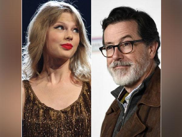 Taylor Swift and Stephen Colbert