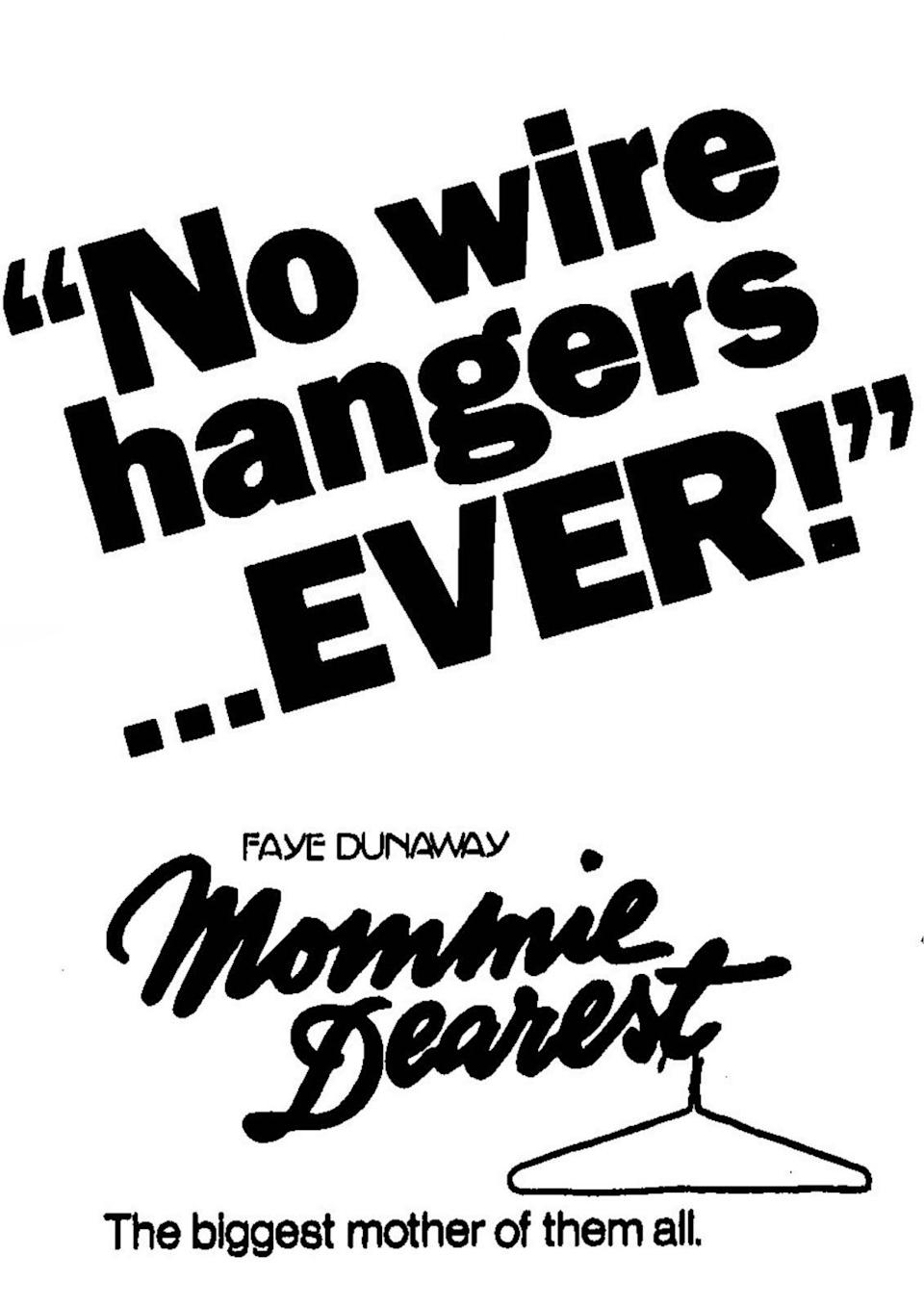 Newspaper ad for Mommie Dearest from 1981.