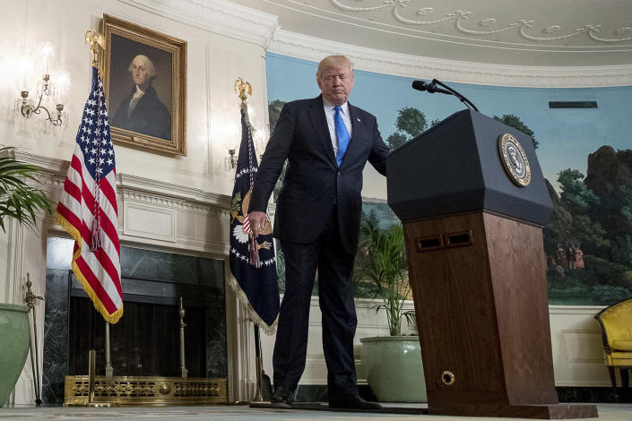 <p>President Donald Trump steps away from the podium in the Diplomatic Room of the White House in Washington, Wednesday, June 14, 2017, after talking about the shooting in Alexandria, Va. where House Majority Whip Steve Scalise of La., and others, where shot during a Congressional baseball practice. (Photo: Andrew Harnik/AP) </p>