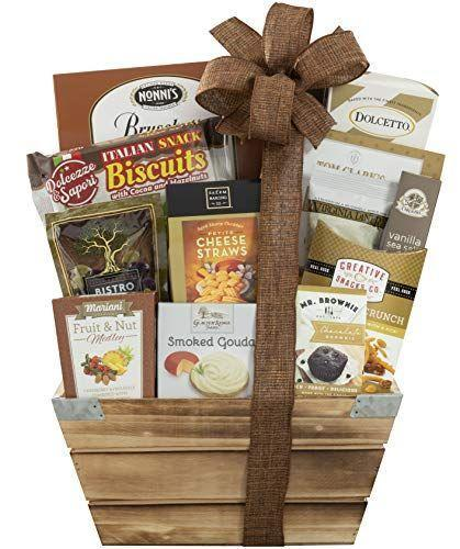 """<p><strong>Wine Country Gift Baskets</strong></p><p>amazon.com</p><p><strong>$43.43</strong></p><p><a href=""""https://www.amazon.com/dp/B00BY78O7Y?tag=syn-yahoo-20&ascsubtag=%5Bartid%7C10055.g.34054234%5Bsrc%7Cyahoo-us"""" rel=""""nofollow noopener"""" target=""""_blank"""" data-ylk=""""slk:Shop Now"""" class=""""link rapid-noclick-resp"""">Shop Now</a></p><p>Whatever she has a taste for, this gift basket has it. There's smoked gouda, cheese straws, caramels, crackers, you name it. </p>"""