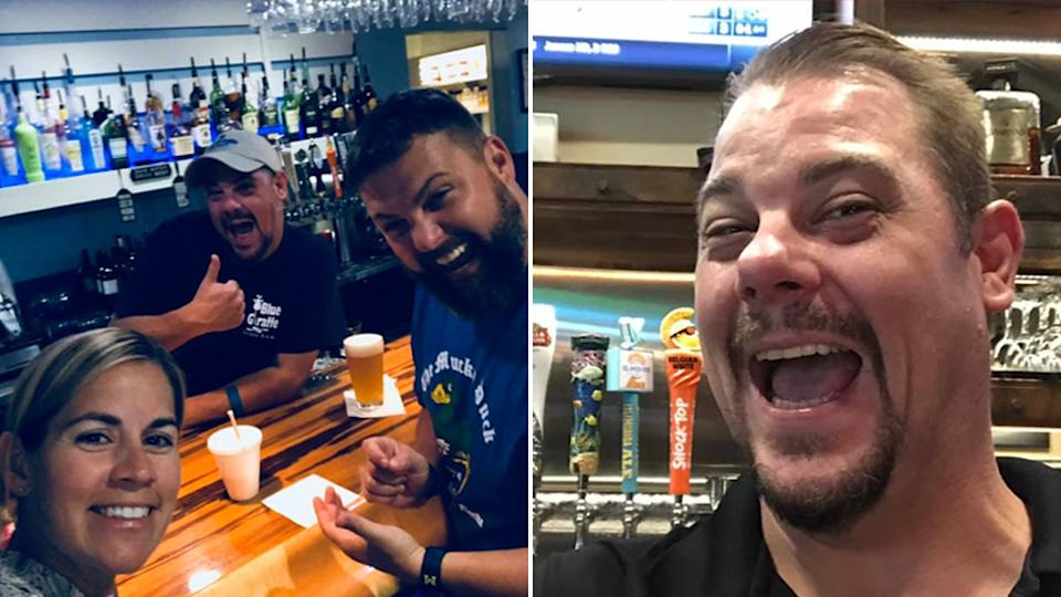 Pete O'Brien pictured with two friends at a bar (left) and on his own looking happy (right). Source: Facebook/Put It On Pete's Tab, Inc.