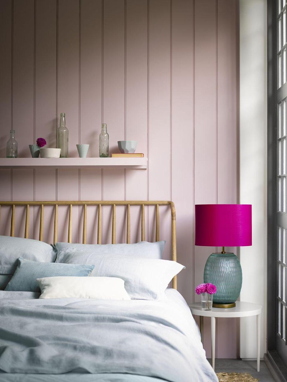 """<p>A pink and grey bedroom is a colour combination made in heaven. If you're not sure how to tie the hues together, a great place to start is to introduce colours through bedlinen. Soft grey sheets against a blush pink wall will always work marvellously. You can then introduce pink accents through accessories, like a pink lampshade, for example.</p><p>• Shop the look at <a href=""""https://go.redirectingat.com?id=127X1599956&url=https%3A%2F%2Fwww.pooky.com%2F&sref=https%3A%2F%2Fwww.housebeautiful.com%2Fuk%2Fdecorate%2Fbedroom%2Fg37103497%2Fpink-grey-bedroom%2F"""" rel=""""nofollow noopener"""" target=""""_blank"""" data-ylk=""""slk:Pooky"""" class=""""link rapid-noclick-resp"""">Pooky</a></p>"""