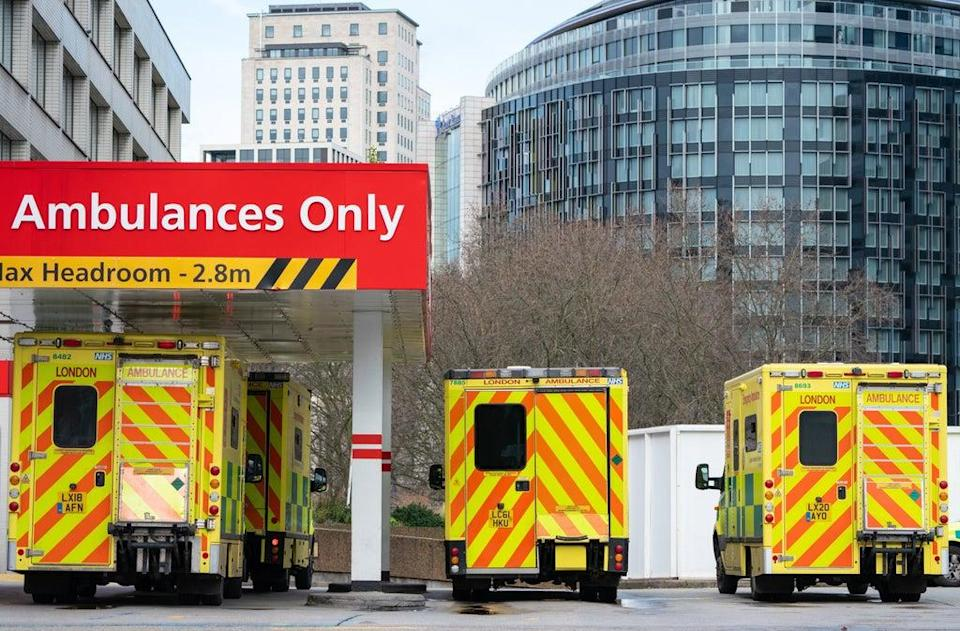 Ambulances outside St Thomas' Hospital, in central London (PA Archive)