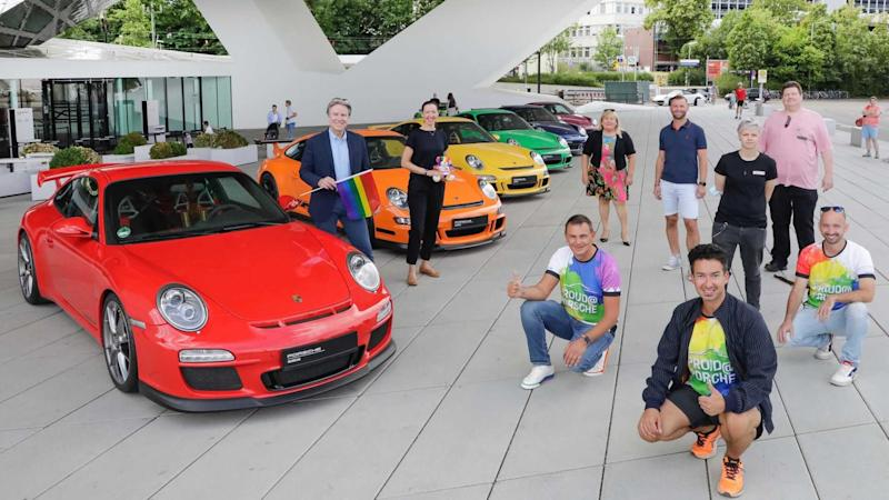 Rainbow-colored 911s in solidarity with gay pride