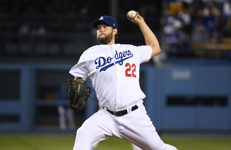 LOS ANGELES, CA - AUGUST 20: Los Angeles Dodgers pitcher Clayton Kershaw (22) throws a pitch during a MLB game between the Toronto Blue Jays and the Los Angeles Dodgers on August 20, 2019 at Dodger Stadium in Los Angeles, CA. (Photo by Brian Rothmuller/Icon Sportswire via Getty Images)