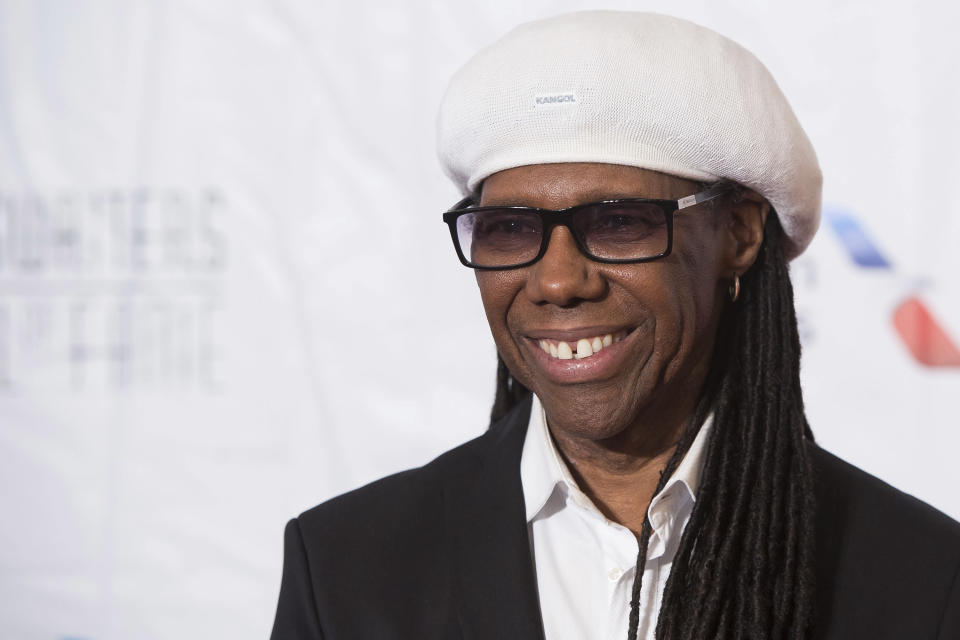 FILE - In this June 9, 2016 file photo, inductee Nile Rodgers attends the 47th Annual Songwriters Hall of Fame Induction Ceremony and Awards Gala at the Marriott Marquis Hotel in New York. The late rapper Tupac Shakur and Seattle-based rockers Pearl Jam lead a class of Rock and Roll Hall of Fame inductees that also include folkie Joan Baez and 1970s favorites Journey, Yes and Electric Light Orchestra. The rock hall also said Tuesday, Dec. 20, 2016, it would give a special award to Rodgers, whose disco-era band Chic failed again to make the cut after its 11th time nominated. The hall's 32nd annual induction ceremony will take place on April 7 at Barclays Center in Brooklyn, N.Y. (Photo by Charles Sykes/Invision/AP, File)
