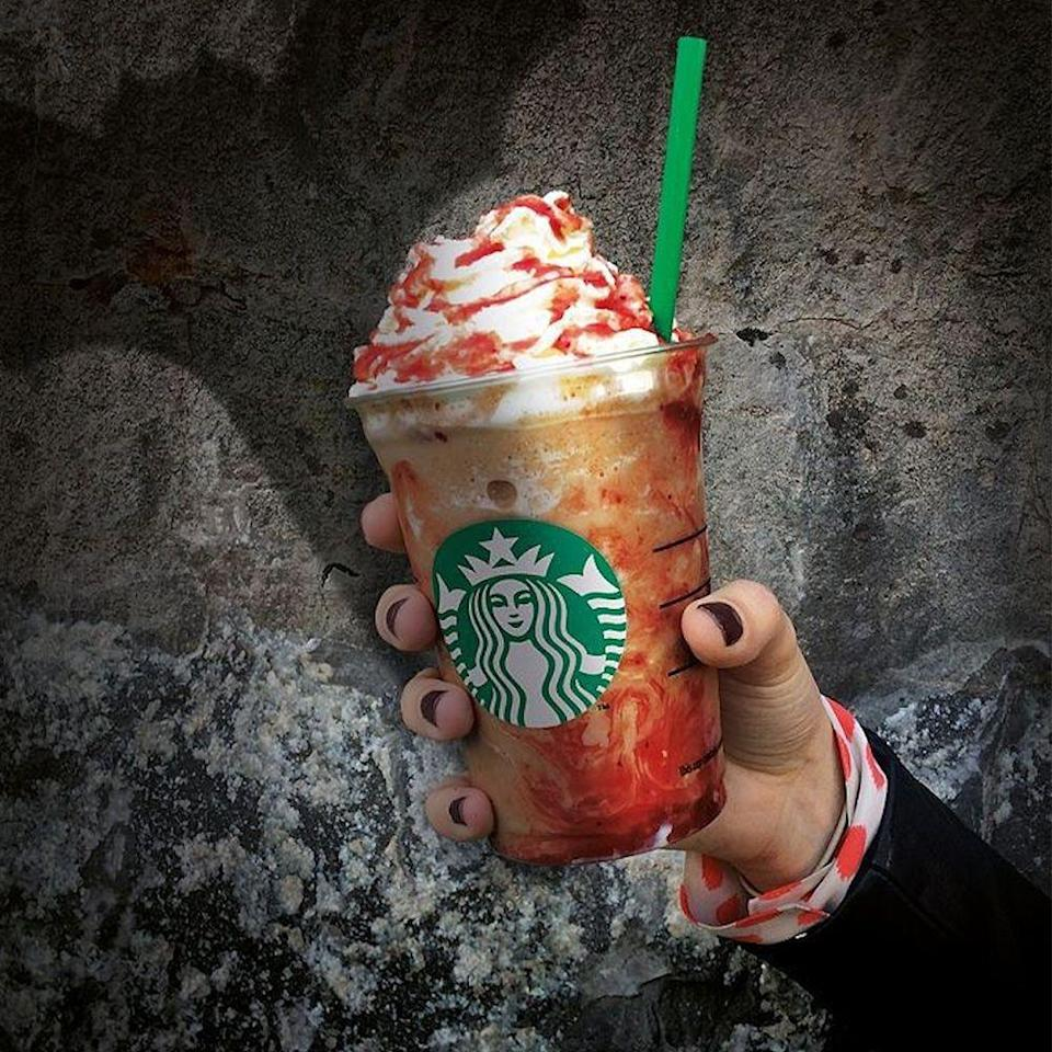 <p>The look of this drink already lives up to its name! The chocolate-blended drink is topped with whipped cream and strawberry sauce to give the ultimate creepy Halloween look.</p>