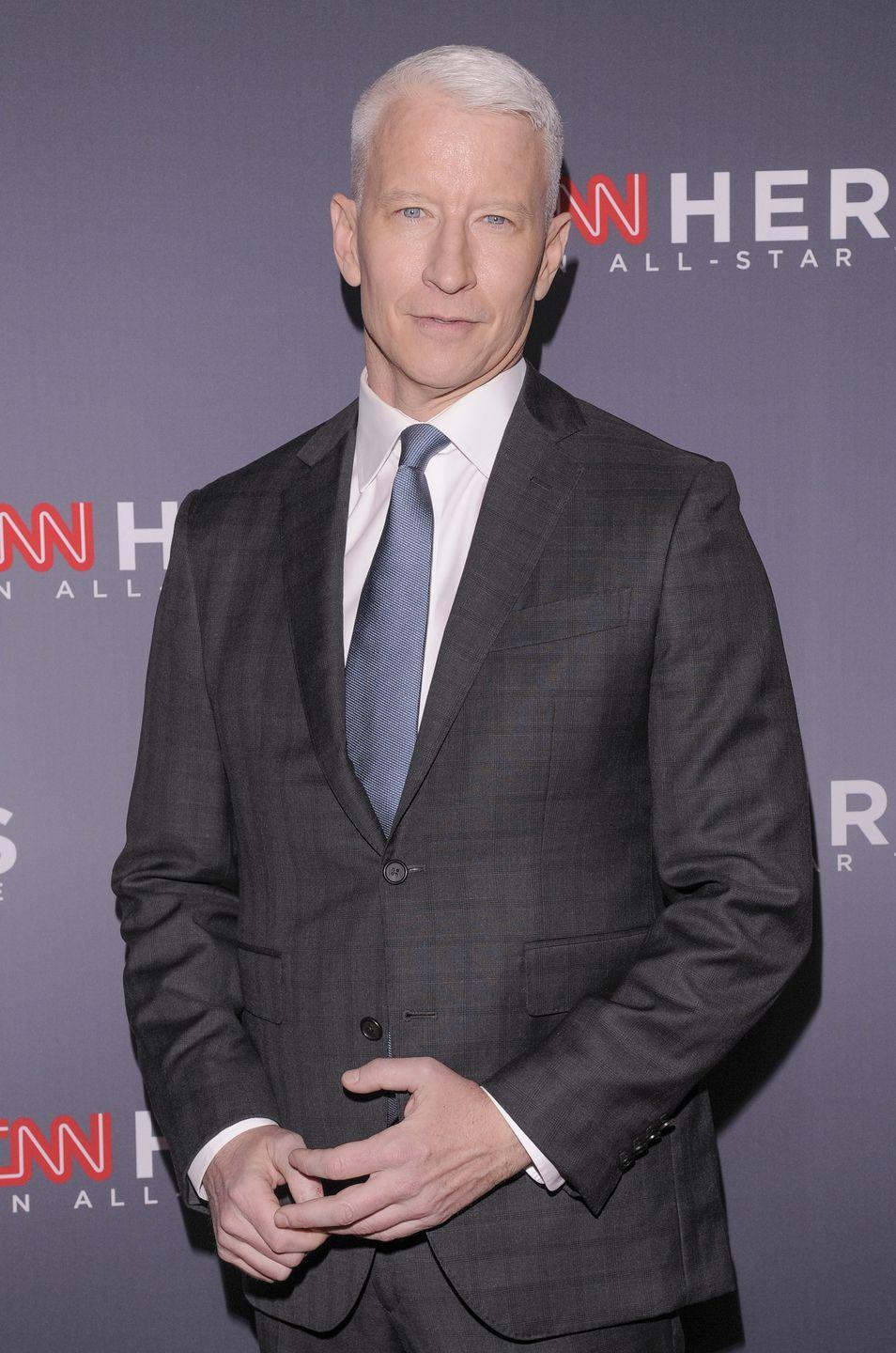 "<p>Cooper says in his 30s he was salt and pepper and now at 52, he can't find the pepper anymore. Even though most know the TV personality for his silver style, he <a href=""https://people.com/style/anderson-cooper-is-an-unwilling-silver-fox-i-wish-i-still-had-brown-hair/"" rel=""nofollow noopener"" target=""_blank"" data-ylk=""slk:says he misses his brown hair"" class=""link rapid-noclick-resp"">says he misses his brown hair</a>.</p>"