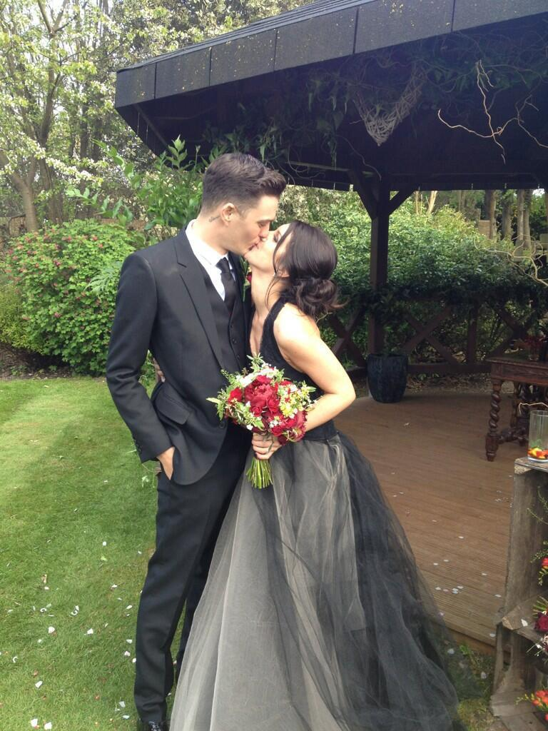 """<p>The actress went for an unconventional hue to marry Josh Beechwood in 2013, <a href=""""https://people.com/style/shenae-grimess-wedding-dress-all-the-scoop-on-her-black-gown/"""" rel=""""nofollow noopener"""" target=""""_blank"""" data-ylk=""""slk:selecting a moody black-and-cream halter gown from Wang's Fall 2012 collection"""" class=""""link rapid-noclick-resp"""">selecting a moody black-and-cream halter gown from Wang's Fall 2012 collection</a>. </p>"""