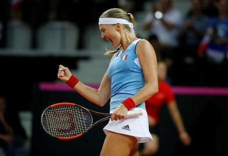 Tennis - Fed Cup - World Group Semi Final - France vs United States - Arena Du Pays D'Aix, Aix-en-Provence, France - April 21, 2018 France's Kristina Mladenovic celebrates during her match against CoCo Vandeweghe of the U.S. REUTERS/Jean-Paul Pelissier