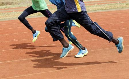 File photo of Kenya's athletes running during a training session in Nairobi