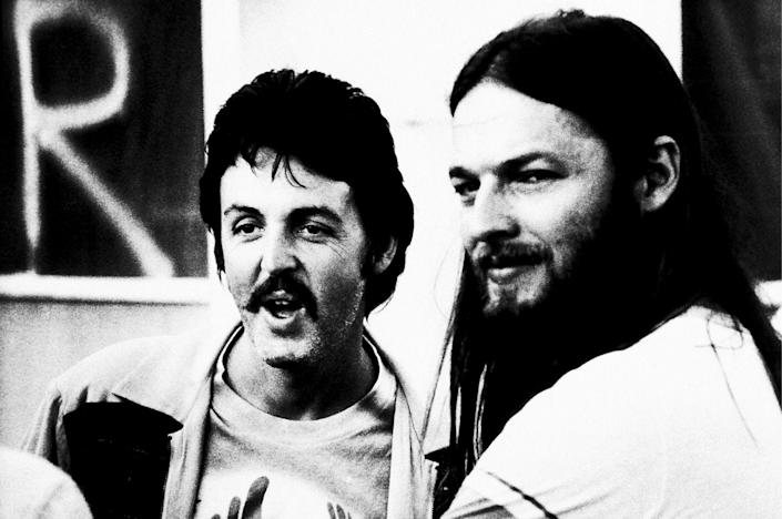 <p>Paul McCartney with David Gilmour of Pink Floyd backstage at Knebworth Music Festival, 1976.</p>