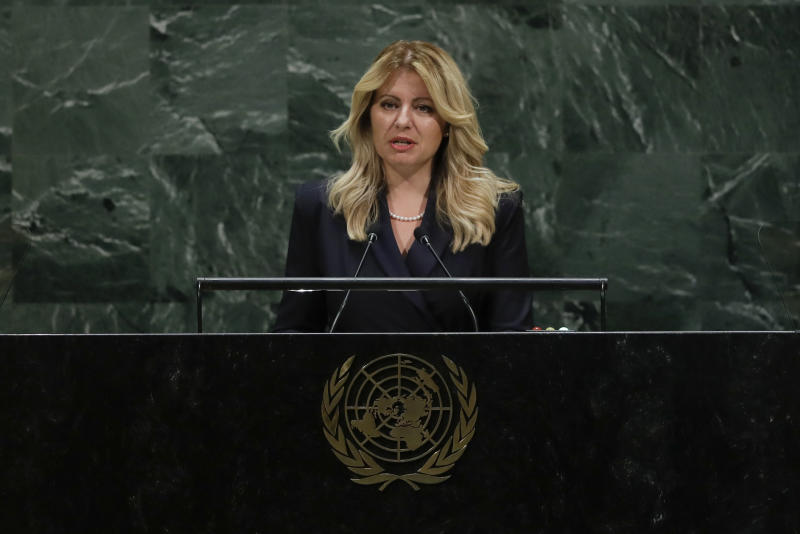 Slovakia's President Zuzana Caputova addresses the 74th session of the United Nations General Assembly, Tuesday, Sept. 24, 2019, at the United Nations headquarters. (AP Photo/Frank Franklin II)