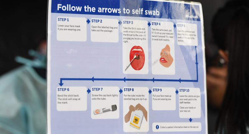 Signage for a self swab COVID-19 test in Broadmeadows on Friday. Source: AAP