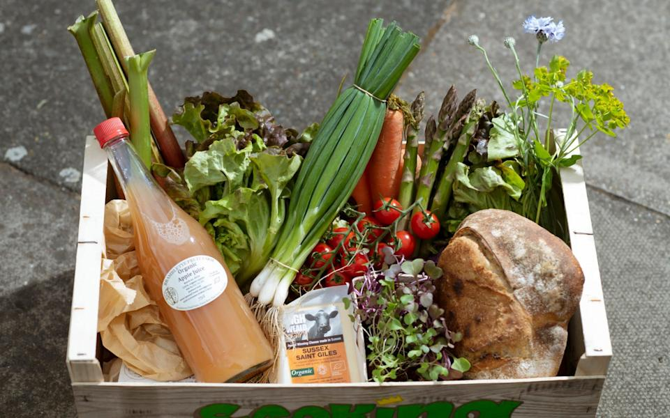 One of Mr Loveday's fruit and veg boxes - Geoff Pugh