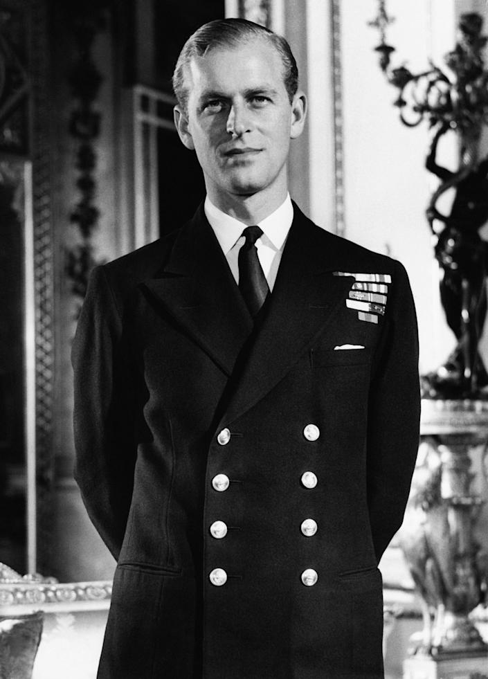 """Philip Mountbatten in the White Drawing Room at Buckingham Palace in London, in October 1947.<span class=""""copyright"""">Gamma-Keystone France/Getty Images</span>"""