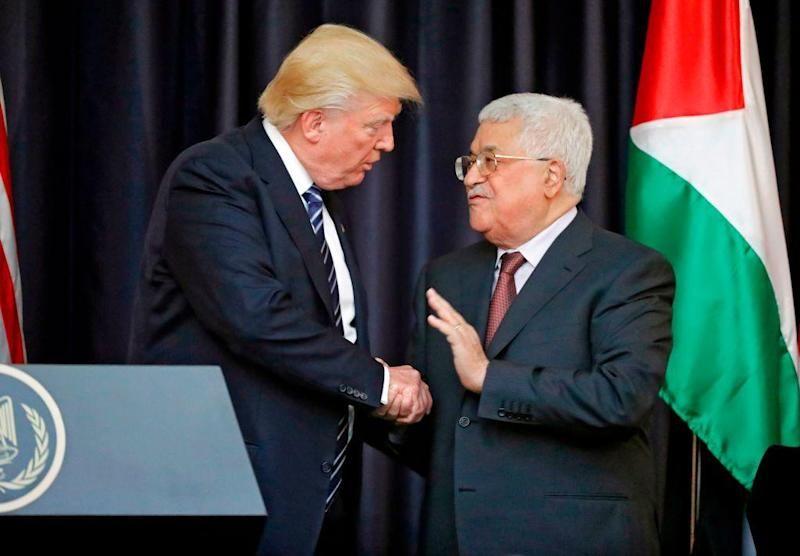 Relations between the two leaders appeared cordial in their joint remarks to media in Bethlehem on 23 May 2017: AFP/Getty Images