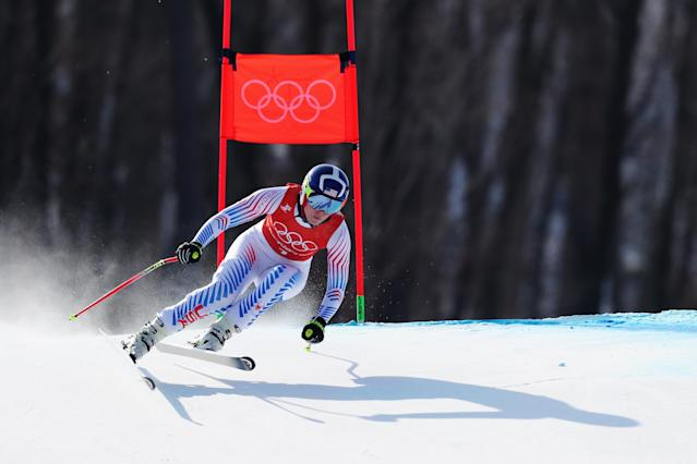 Lindsey Vonn during a downhill training run at the 2018 Winter Olympics. (Getty)