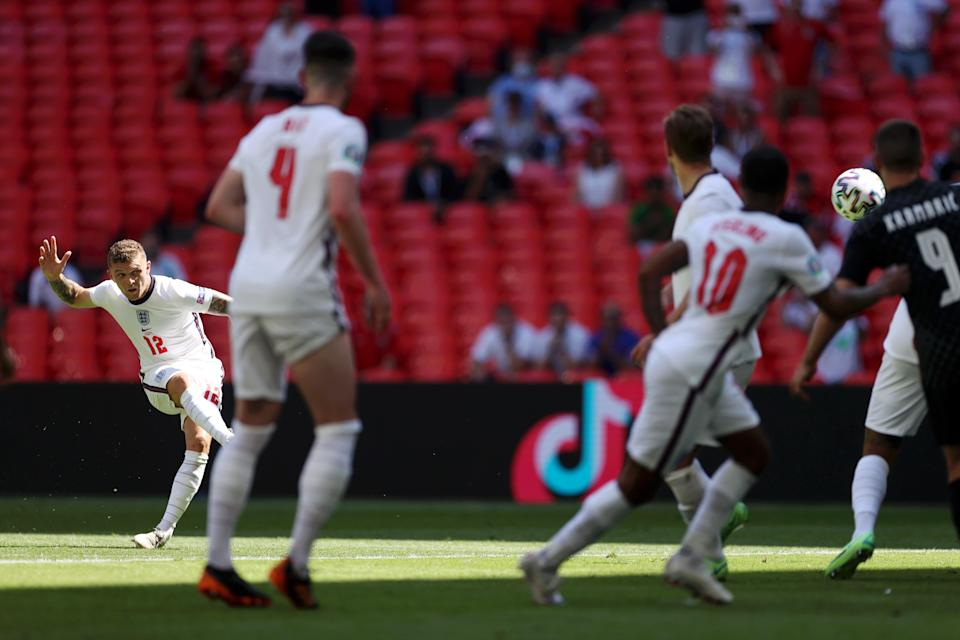 Trippier couldn't quite recreate his free-kick goal from the 2018 World Cup semi-final against Croatia (The FA via Getty Images)
