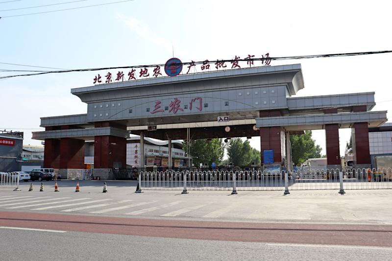 BEIJING, CHINA - JUNE 16, 2020: A cordoned off entrance to the Xinfadi wholesale market, where a new coronavirus cluster has been reported. Due to the outbreak, public transport routes were changed, with streets leading to the market blocked. Zoya Rusinova/TASS (Photo by Zoya Rusinova\TASS via Getty Images)