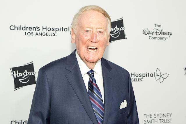 Vin Scully said he's feeling 'much better' after a hospital stay for a fall at home. (Greg Doherty/WireImage)