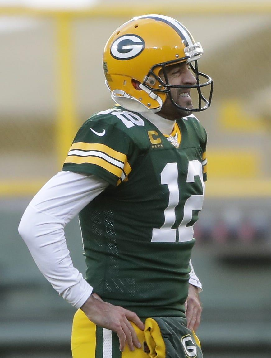Green Bay Packers quarterback Aaron Rodgers (12) reacts following the Packers 28-22 loss to the Minnesota Vikings on November 1, 2020, at Lambeau Field in Green Bay, Wis.