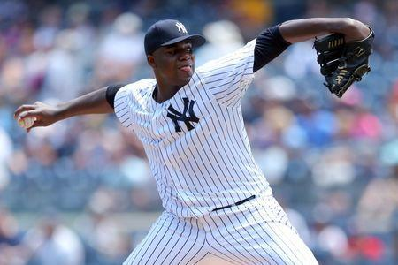 FILE PHOTO: Jul 5, 2017; Bronx, NY, USA; Former New York Yankees starting pitcher Michael Pineda (35) pitches against the Toronto Blue Jays during the first inning at Yankee Stadium. Brad Penner-USA TODAY Sports