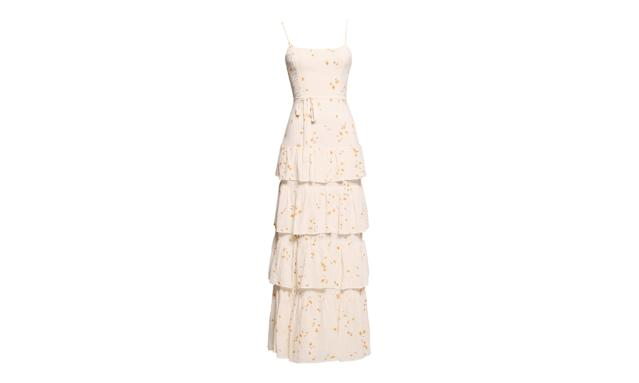 "<p>Foxglove Dress, $428, <a href=""https://www.thereformation.com/products/foxglove-dress-opium"" rel=""nofollow noopener"" target=""_blank"" data-ylk=""slk:thereformation.com"" class=""link rapid-noclick-resp"">thereformation.com</a> </p>"